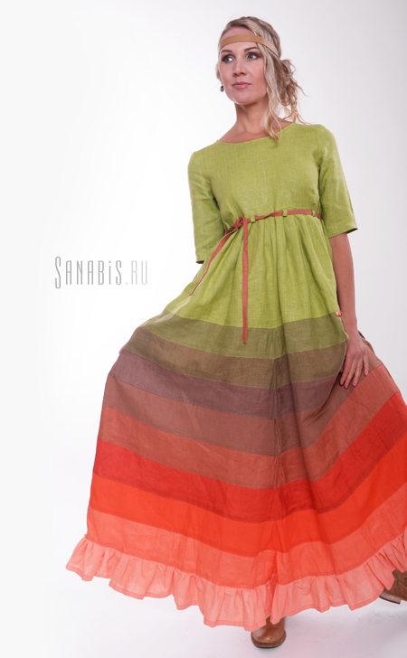 Льняное платье с завышенной линией талии