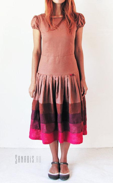 Льняное платье Вишня в шоколаде