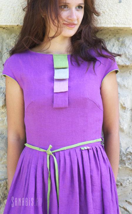 фиолетовое платье из натурального льна