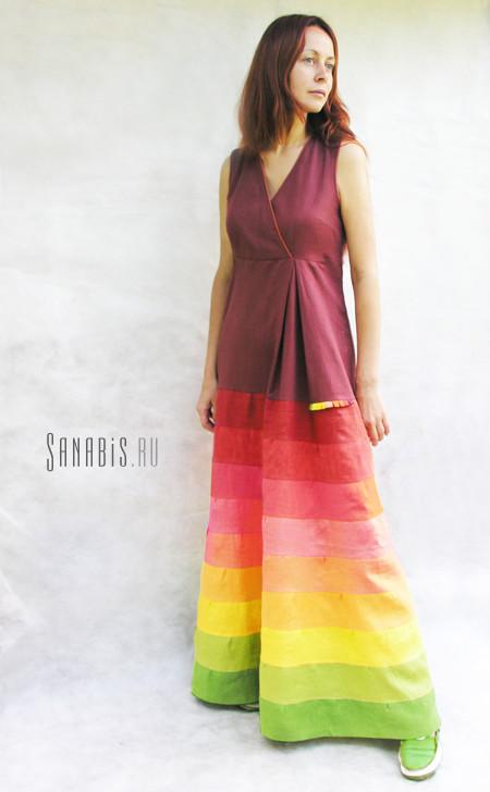 Льняное платье Сливовое