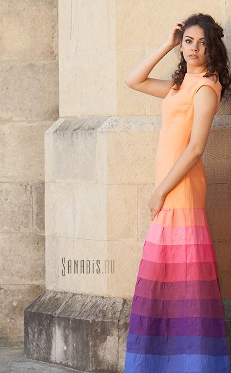 Вечернее льняное платье