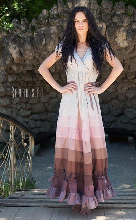 Эффектное льняное платье
