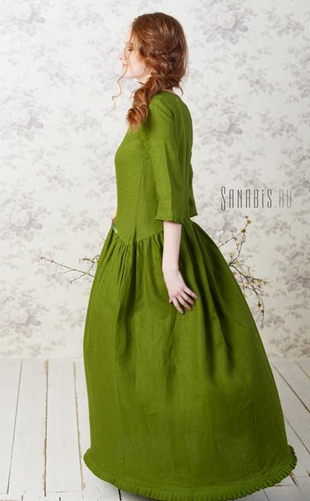 льняное платье цвета сочной зелени