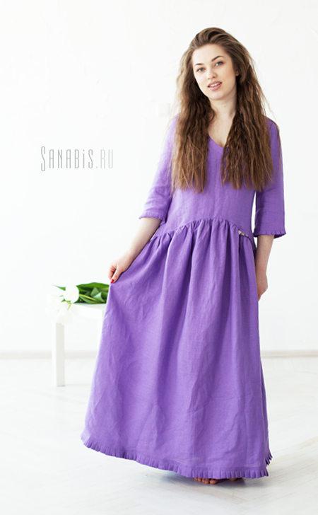 Льняное платье Сирень
