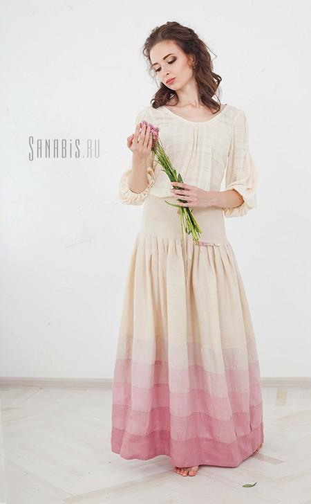 Льняное платье Мейхуа