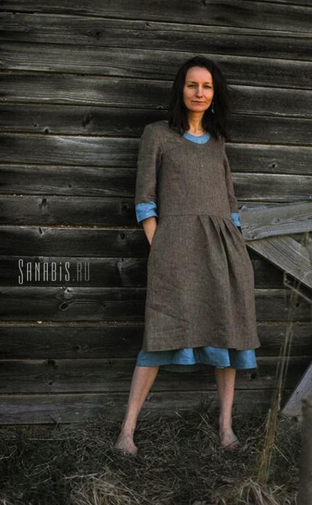 Двойное льняное платье