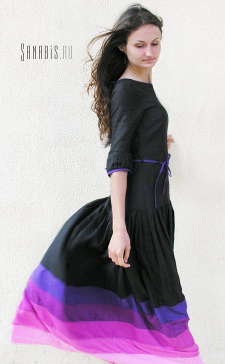 Длинное чёрное льняное платье