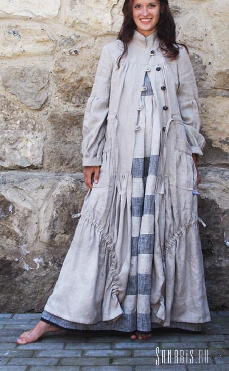 Пальто из льна Бохо