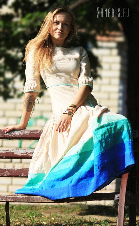 Льняное платье сливочного цвета