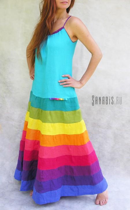 Радужное платье-сарафан из льна