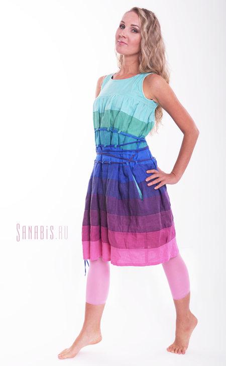 Льняное платье-матрешка