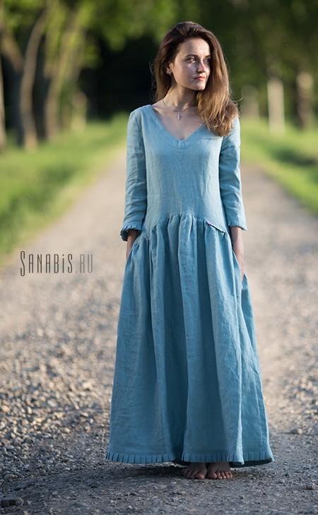Платье из льна Пыльно-мятное