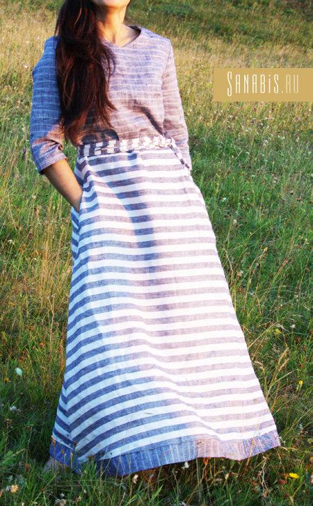 Полосатое льняное платье с карманами