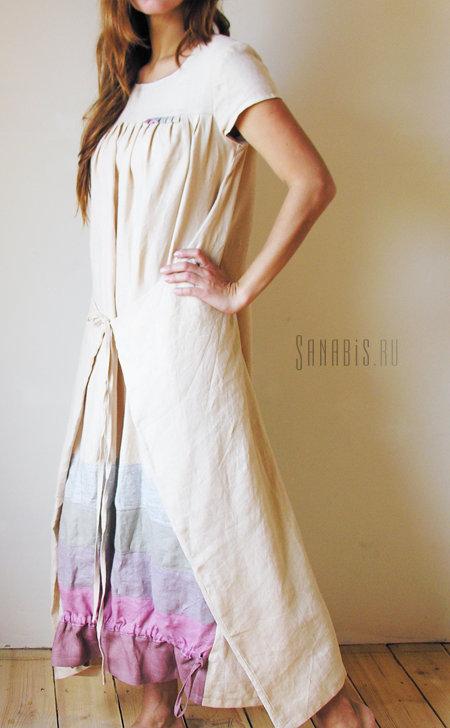 Льняное платье цвета слоновой кости