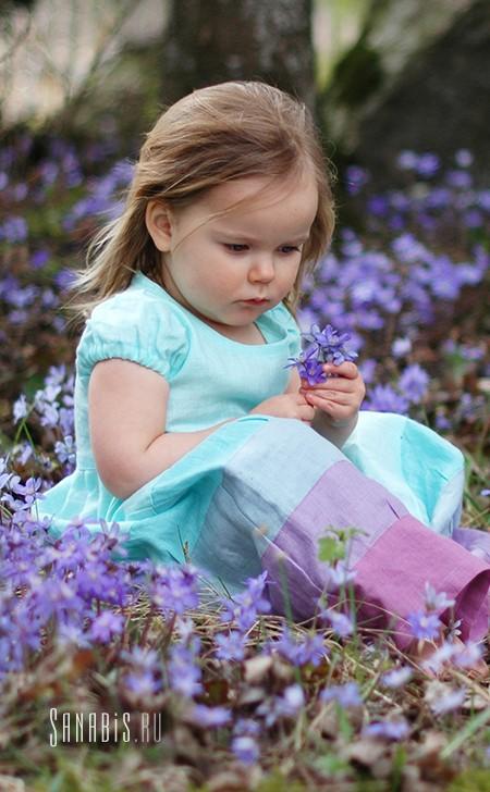 Детское платье из льна Мятно-лавандовое