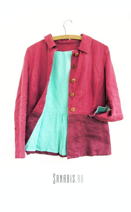 Льняной пиджак «Спелая вишня»
