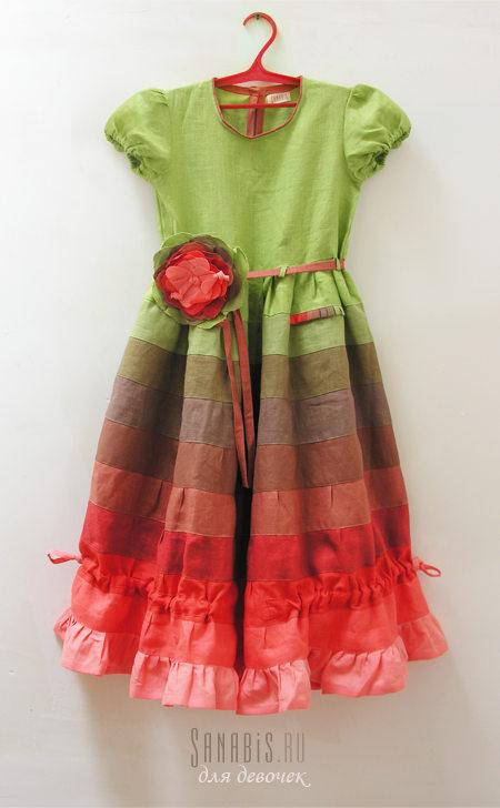 Детское льняное платье Зеленое с красным
