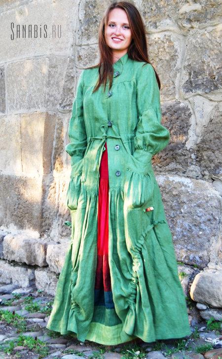 """Льняное пальто """"Зеленое яблоко"""""""