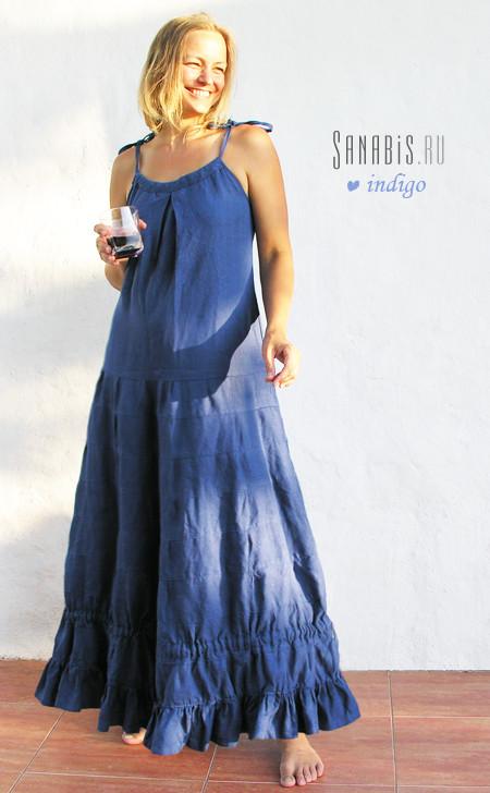 льняное платье цвета индиго