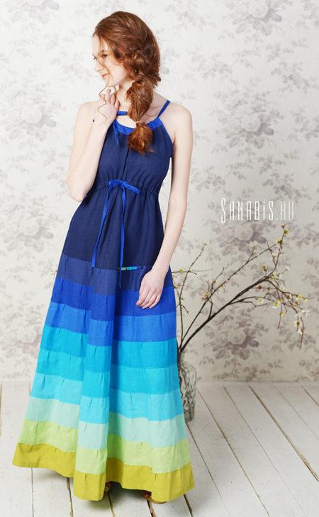 Льняное платье-сарафан цвета индиго