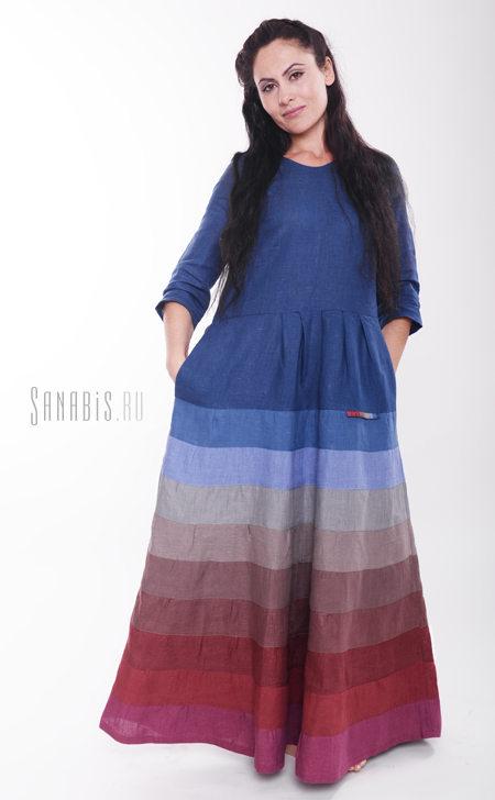 Льняное платье темно-синего цвета
