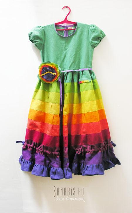 Изумрудное льняное платье для девочки