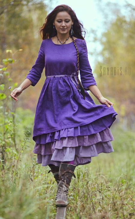 Многослойное льняное платье Лавандовое