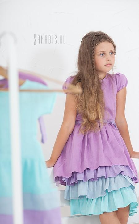 Многослойное детское льняное платье