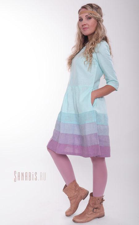 льняное платье мятно-лавандовое