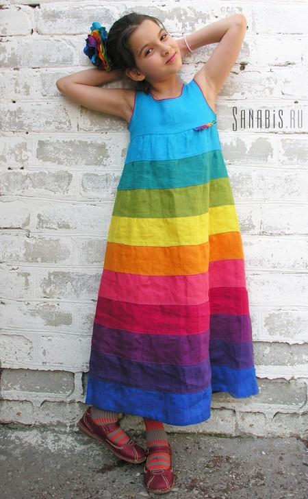 Детское платье-сарафан из льна