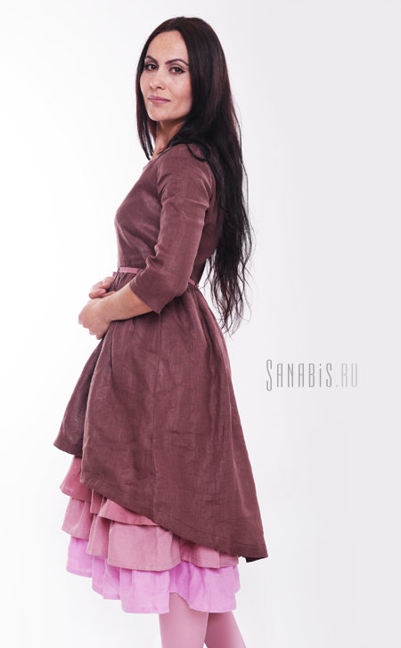 """Многослойное платье из льна """"Шоколадное"""""""