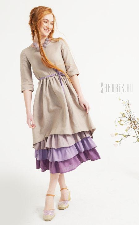 Многослойное льняное платье