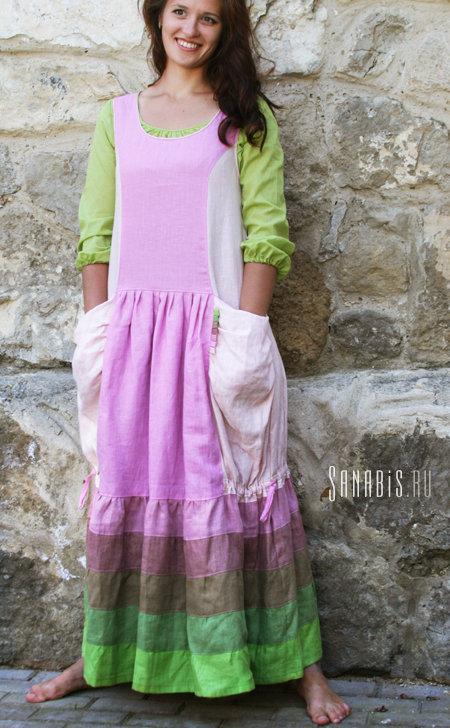 """Льняное платье без рукавов """"Розово-зеленое весеннее"""""""