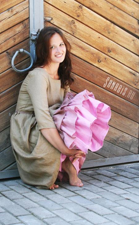 Многослойное платье из льна